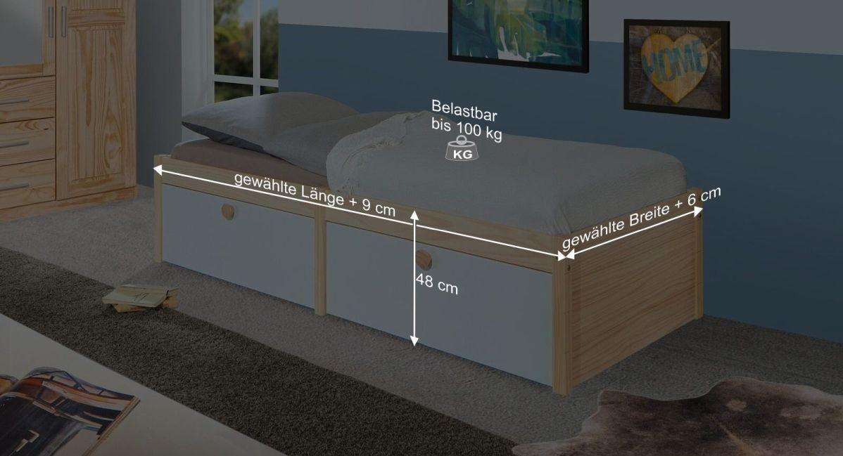 Bemaßungsgrafik zum Schubkasten Einzelbett Saffar