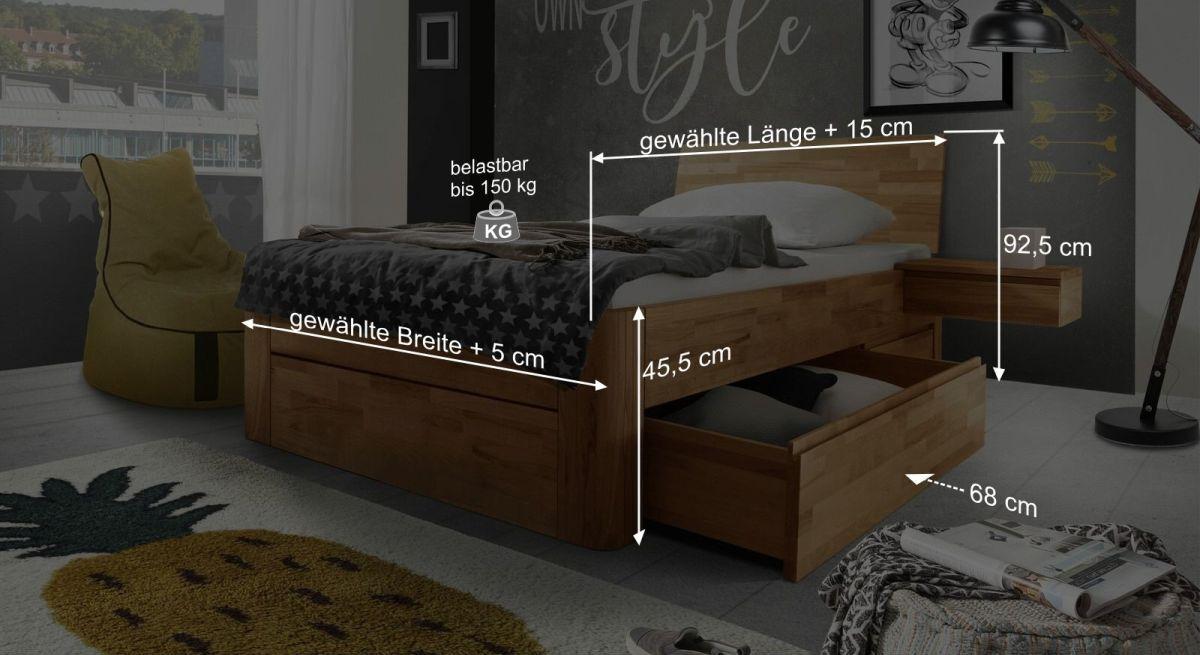 Bemaßungsgrafik vom Schubkasten-Einzelbett Zarbo