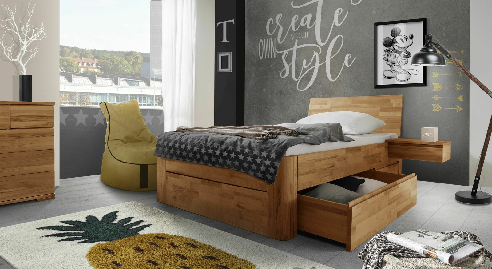Schubkasten-Einzelbett Zarbo mit passenden Möbeln