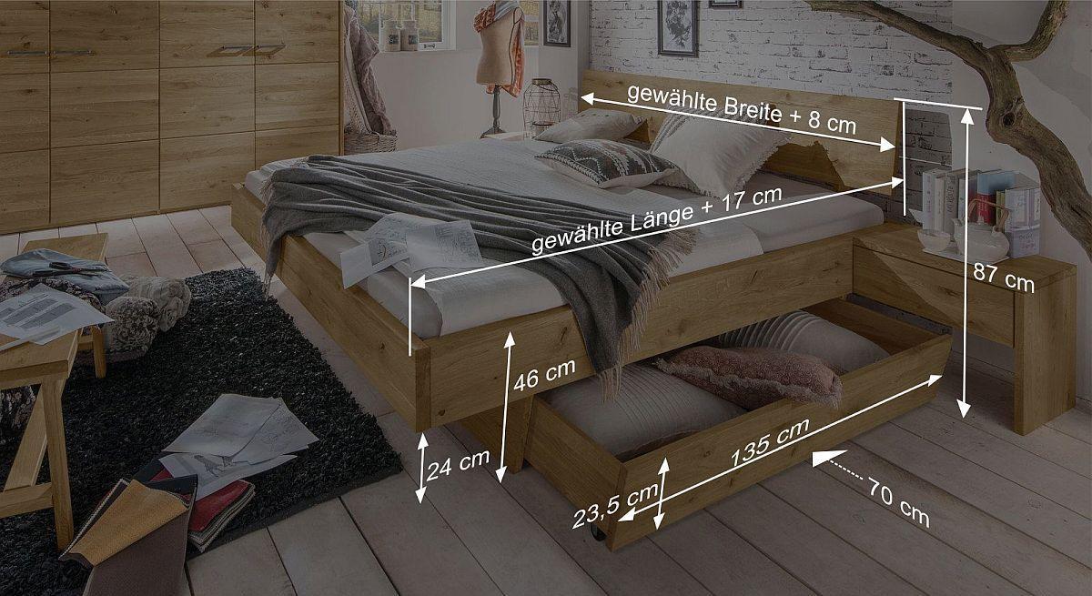 Schubkastenbett Kärntens Bemaßungsskizze