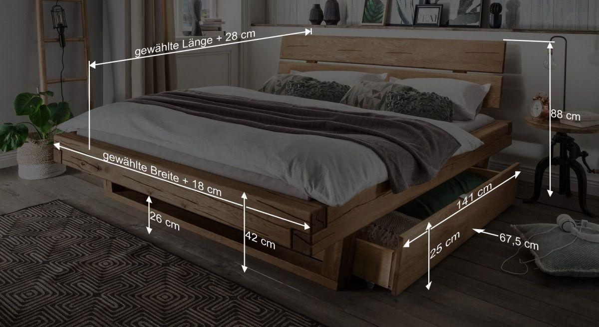Bemaßungsgrafik zum Schubkasten Bett Romeno