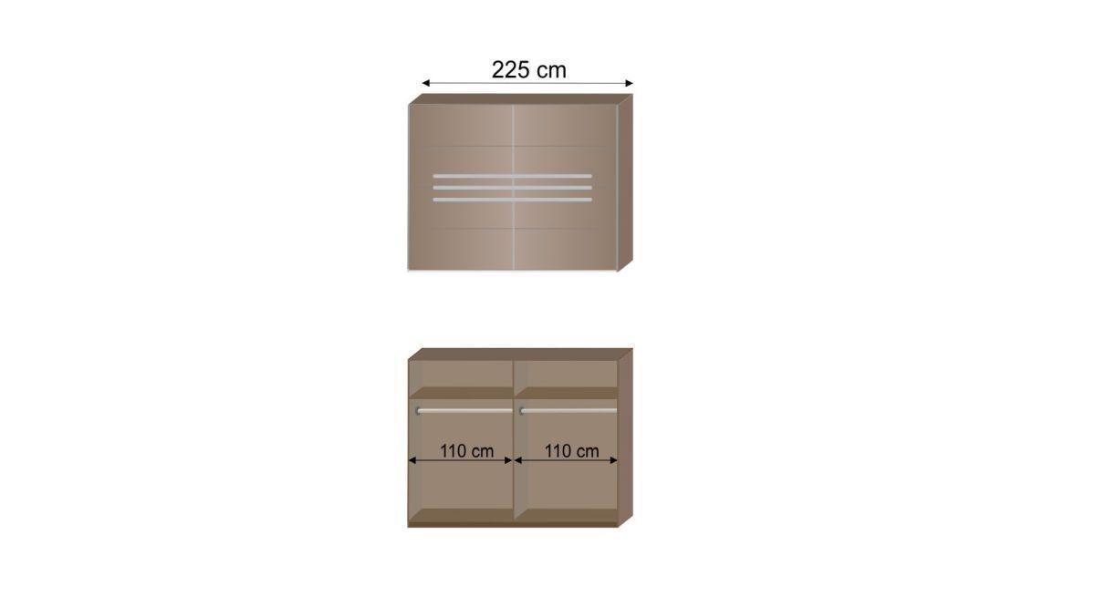 Grafik zur Innenausstattung des Schwebetüren-Kleiderschranks Avello