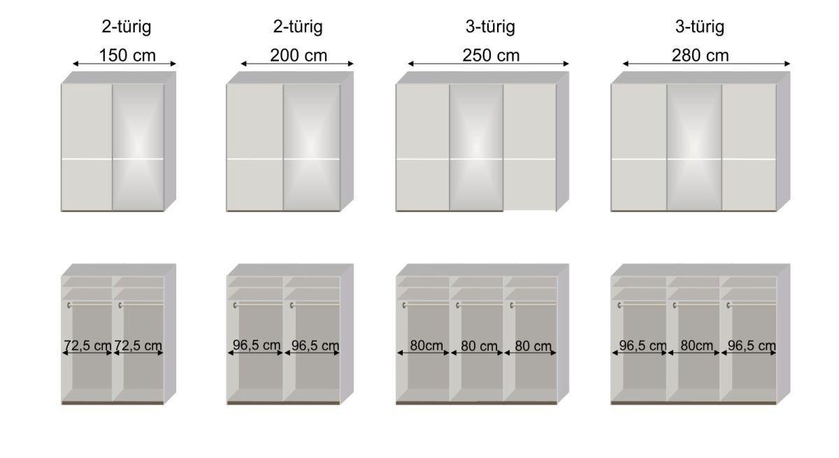 Grafik zur Innenausstattung des Schwebetüren-Kleiderschranks Butaco