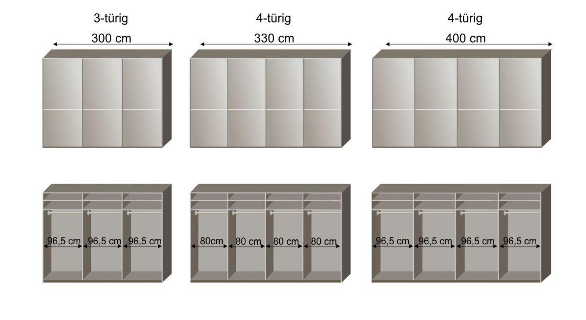 Grafik zur Innenausstattung des Schwebetüren-Kleiderschranks Butaco in 300-400 cm Breite