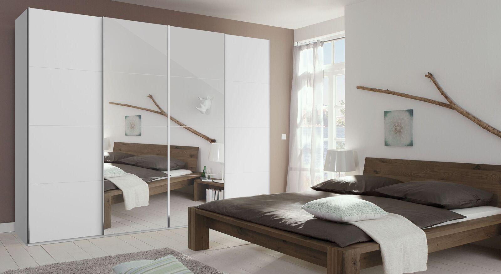 Schwebetüren-Kleiderschrank Eleisa mit mittiger Spiegelfront