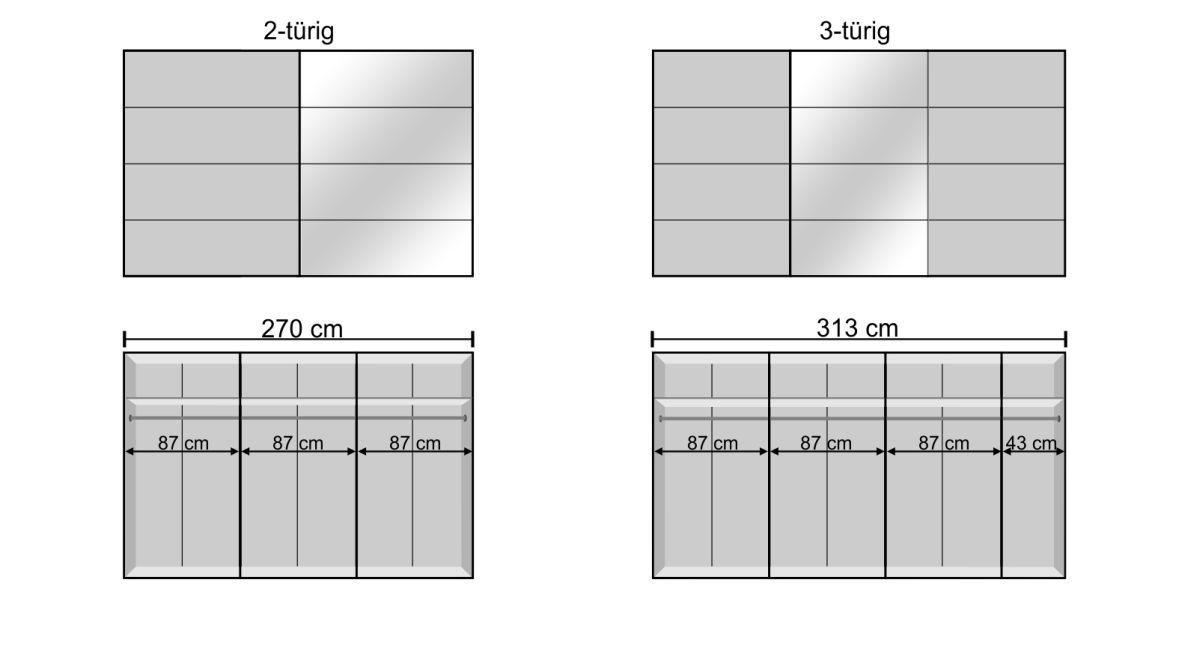 Inneneinteilung des Schwebetüren-Kleiderschranks in den breiten Varianten