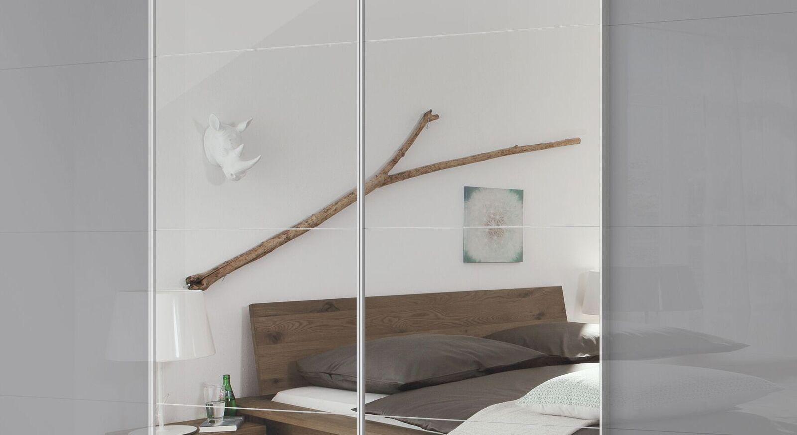 Schwebetüren-Kleiderschrank Jelica mit Spiegel und Zierleisten