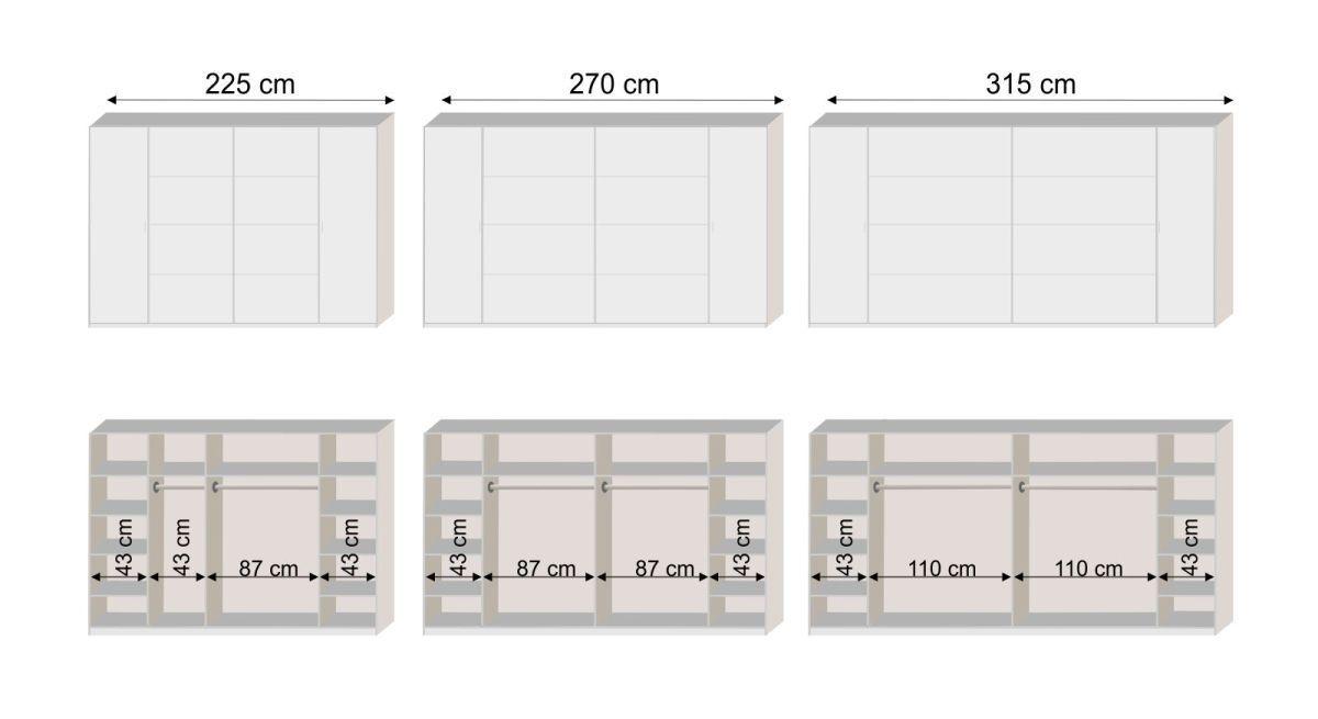 Bemaßungs-Grafik zur Inneneinteilung des Schwebetüren-Kleiderschranks Kiraly