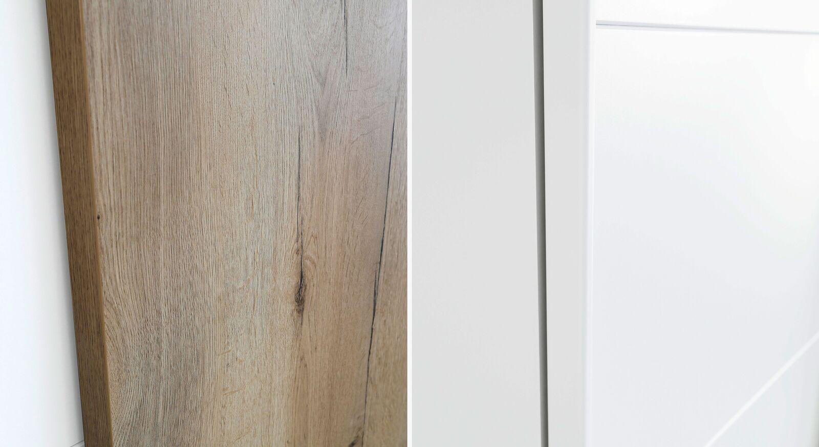 Schwebetüren-Kleiderschrank Leona Türen in Eiche Dekor und Weiß