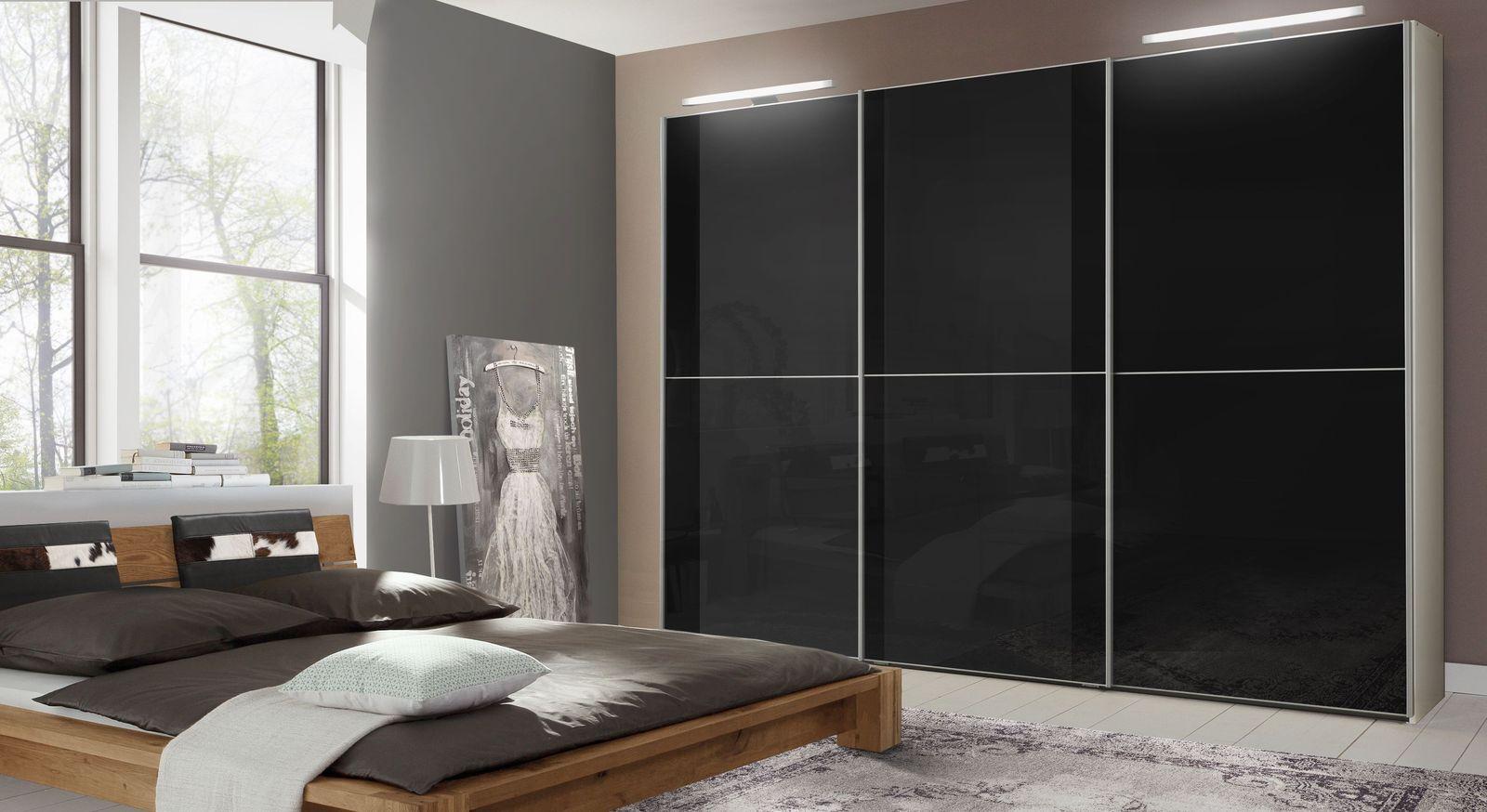 Schwebetüren-Kleiderschrank Madison mit eleganter schwarzer Glasfront