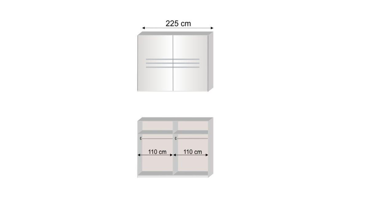 Grafik zur Innenausstattung des Schwebetüren-Kleiderschranks Manati