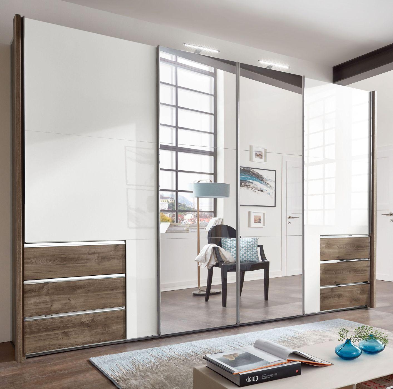 spiegel kleiderschrank mit hochglanz t ren und schubladen neto. Black Bedroom Furniture Sets. Home Design Ideas