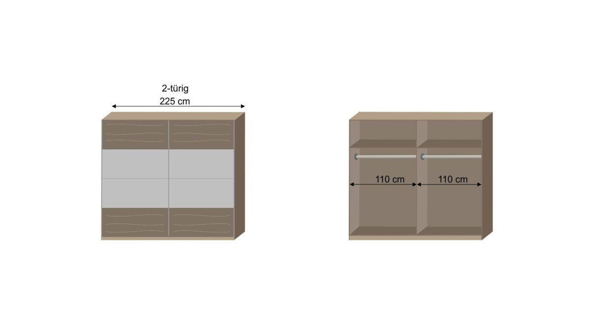 Bemaßungs-Skizze zur Inneneinteilung des Schwebetüren-Kleiderschranks Ovatio