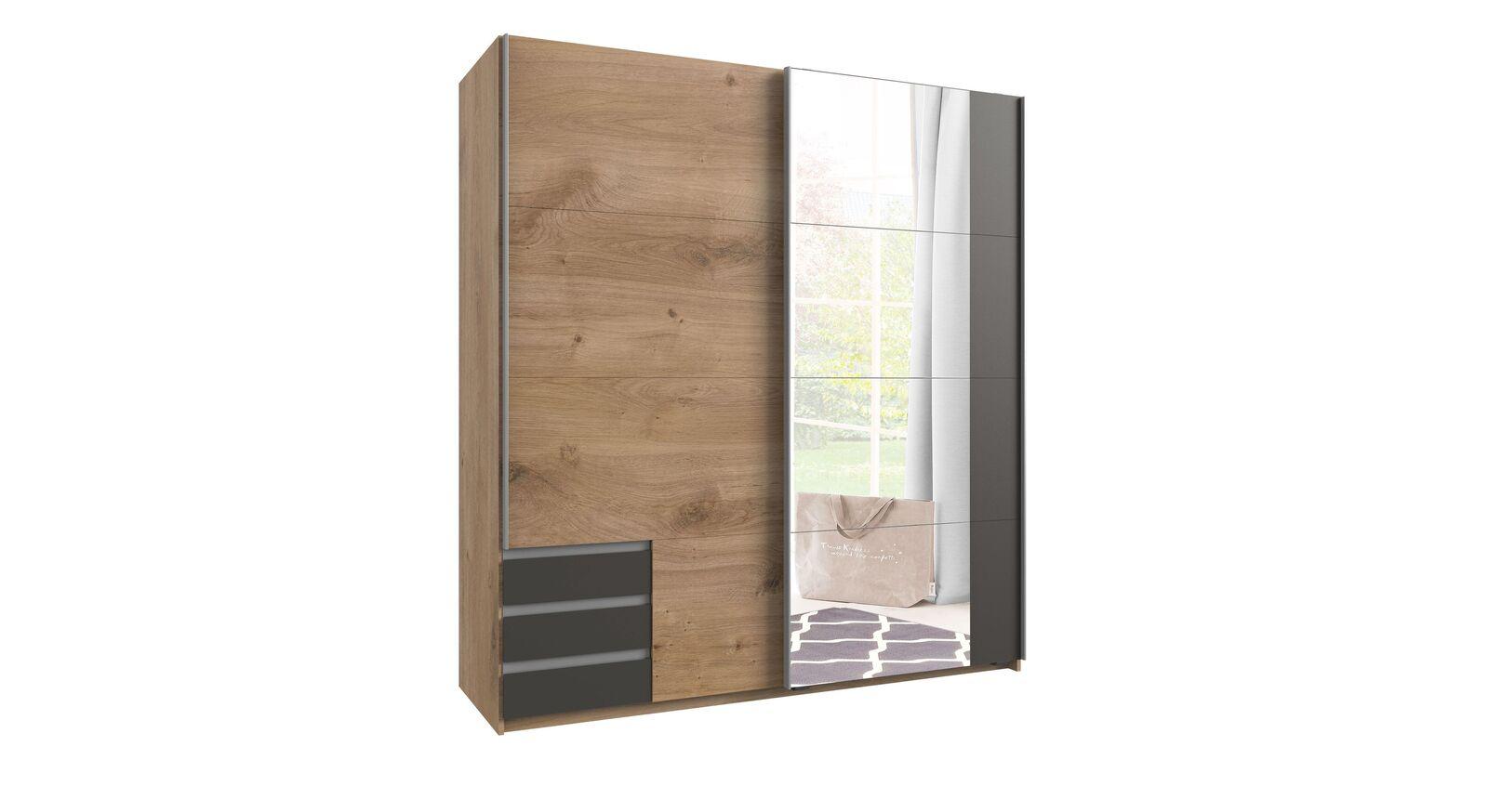 Kompakter Schwebetüren-Kleiderschrank Philina mit Spiegel