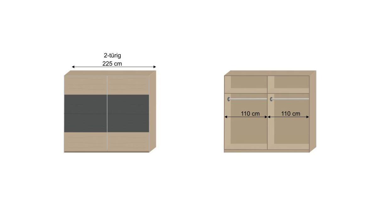 Bemaßungs-Skizze zur Inneneinteilung des Schwebetüren-Kleiderschranks