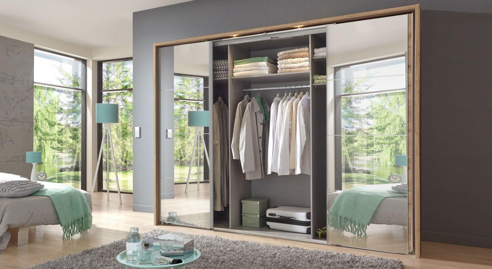 Schwebetüren-Kleiderschrank Rovito mit praktischer Innenaufteilung