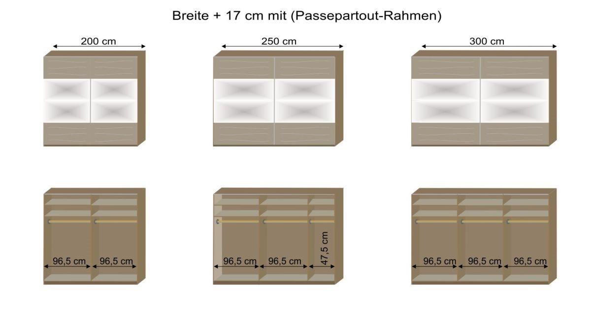 Schwebetüren-Kleiderschrank Seymours Grafik zur Inneneinteilung