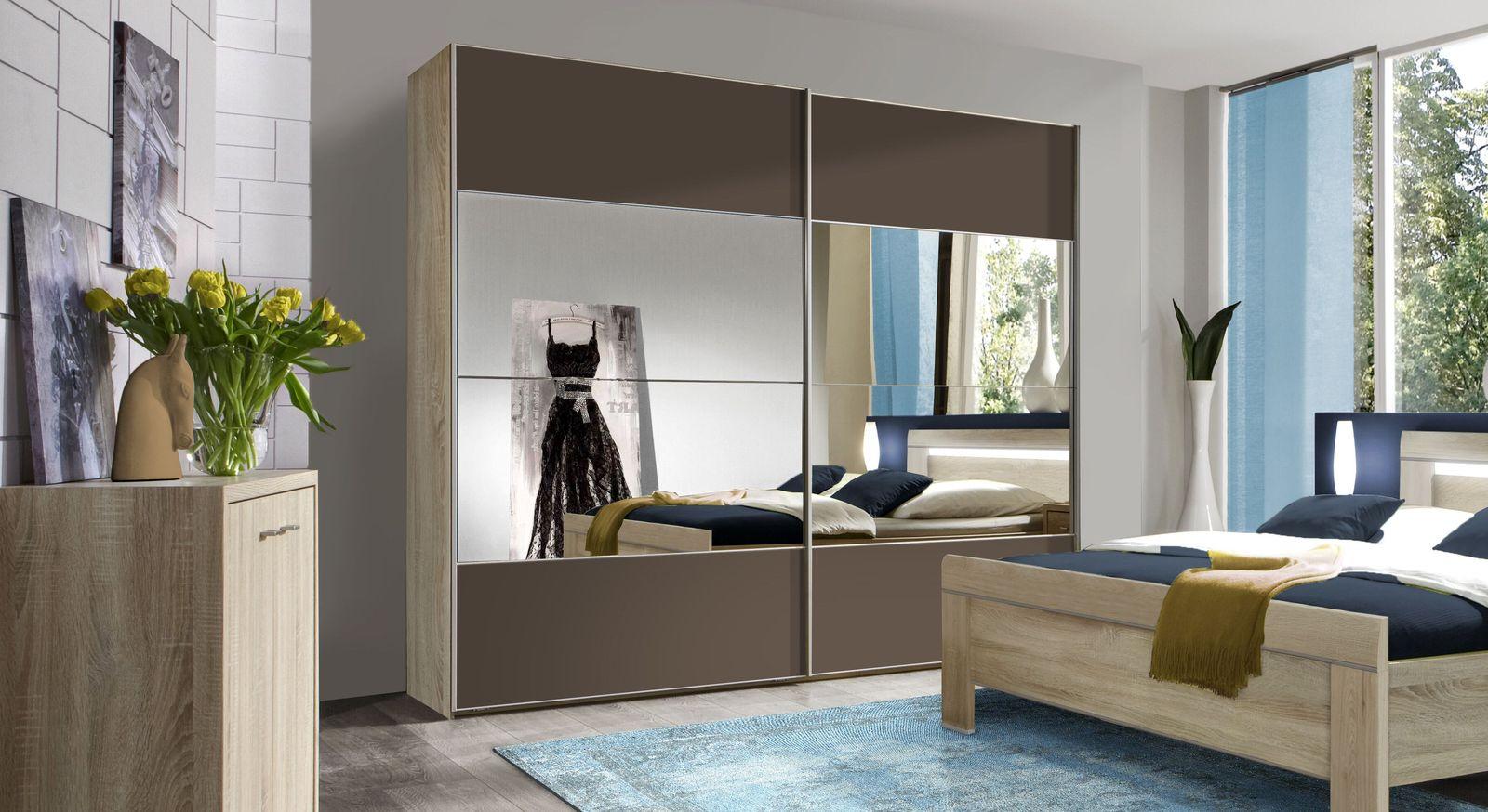 Schwebetüren-Kleiderschrank Seymour mit praktische Spiegelfläche