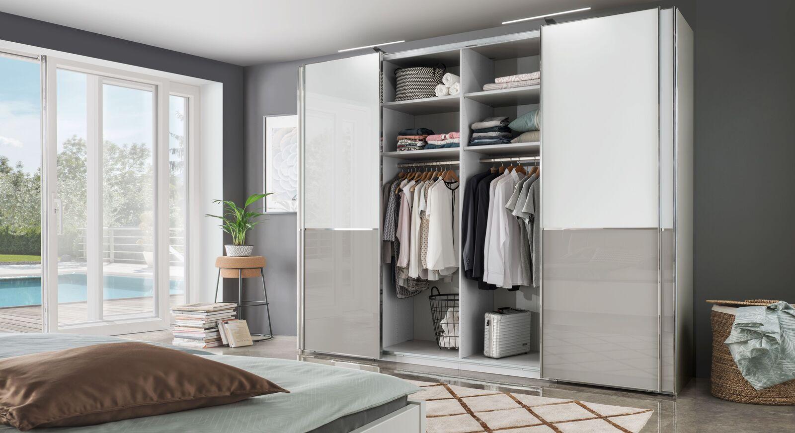 Schwebetüren-Kleidersschrank Shanvalley inklusive Innenausstattung
