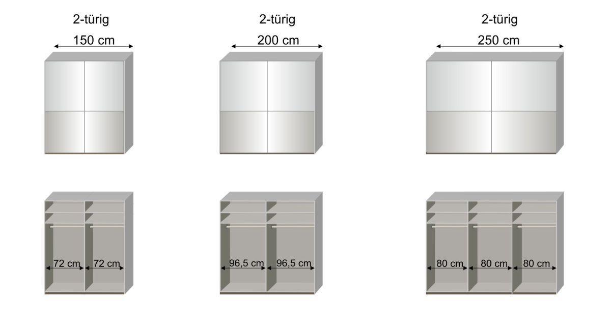 Maßgrafik zur 2. Inneneinteilung des Schwebetüren-Kleiderschranks Shanvalley