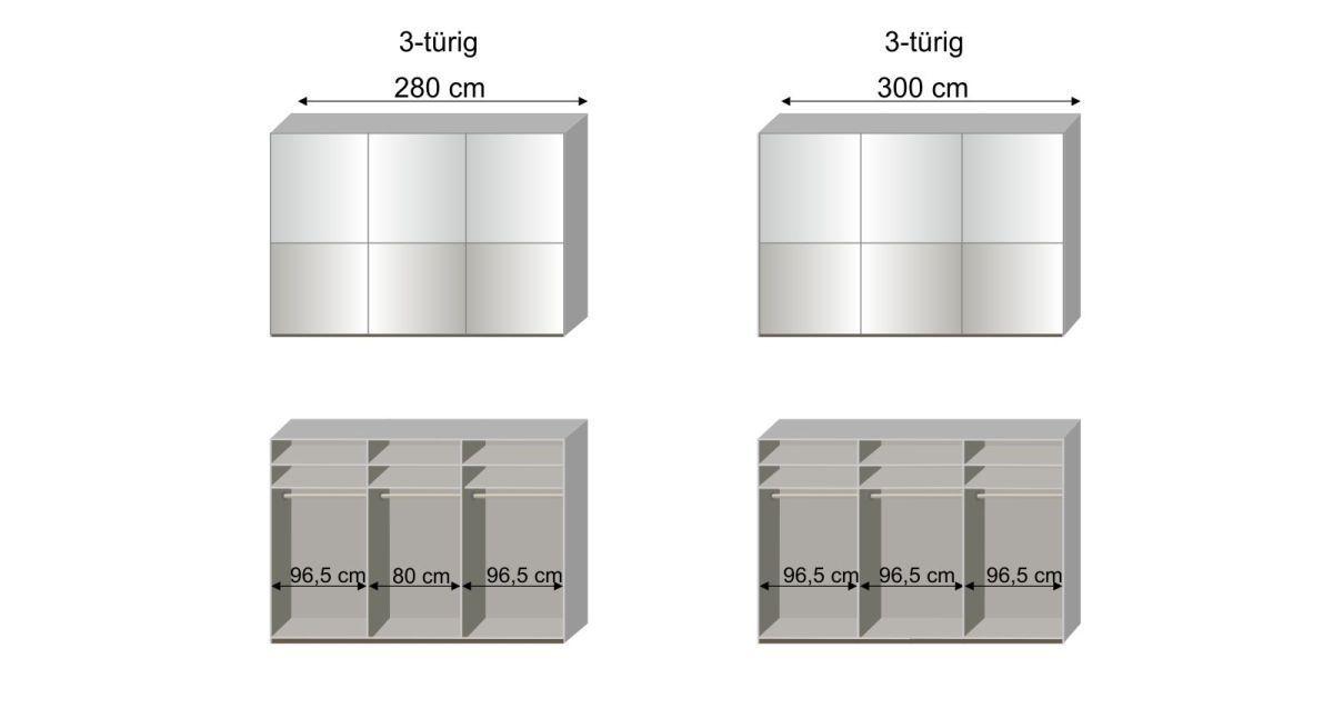 Maßgrafik zur 3. Inneneinteilung des Schwebetüren-Kleiderschranks Shanvalley