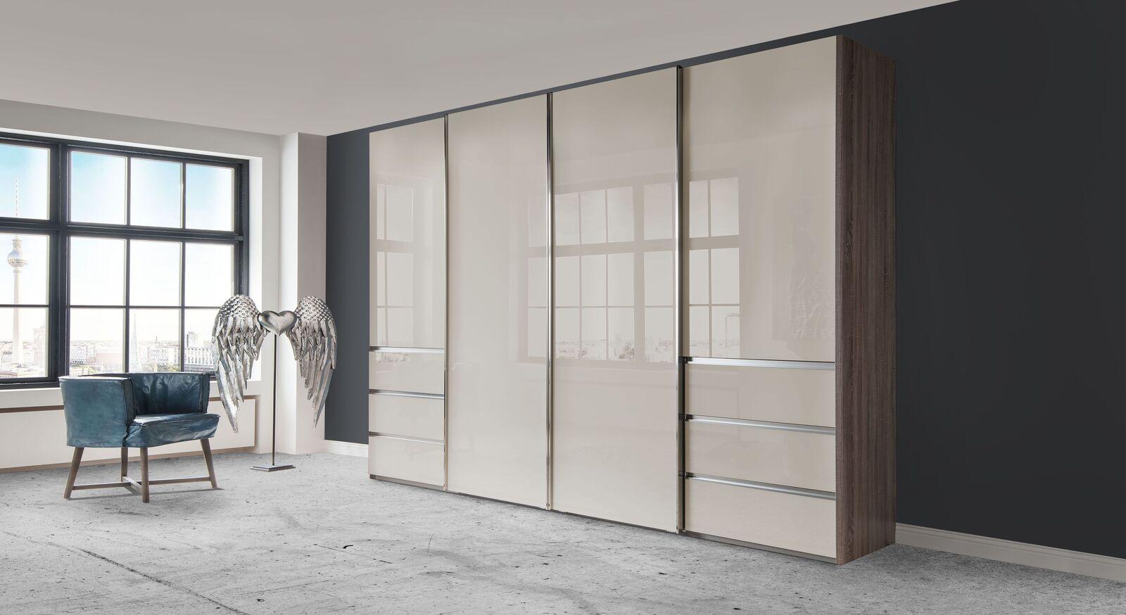 Schwebetüren-Kleiderschrank Tunica mit eleganter Glasfront