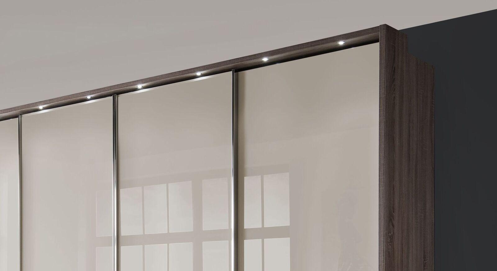 Zweifarbiges Schwebetüren-Kleiderschrank Tunica mit Glasfront