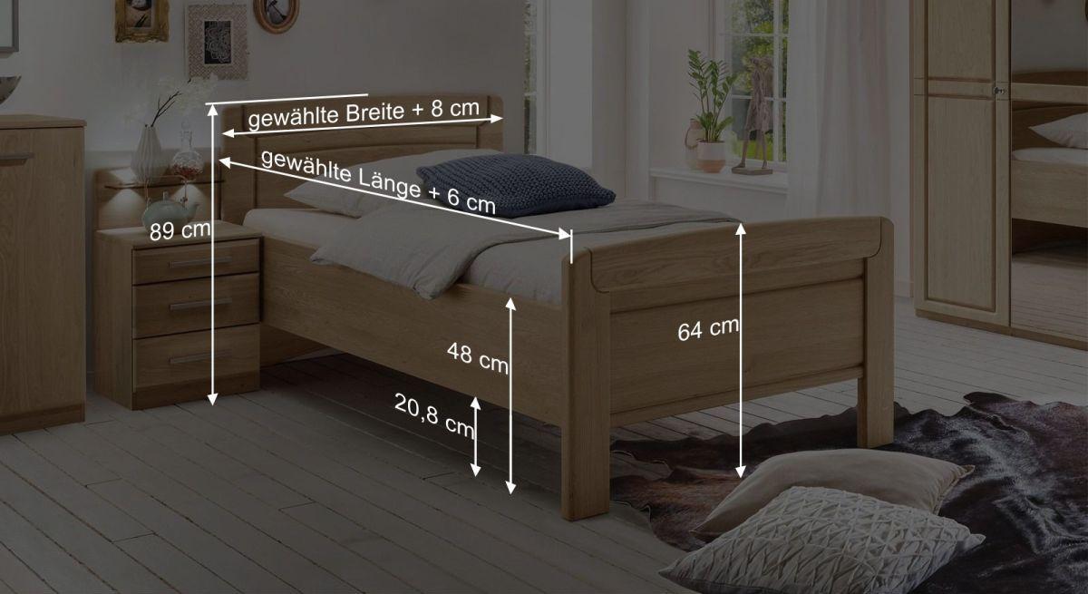 Maßgrafik zum Komfort-Seniorenbett Hazleton