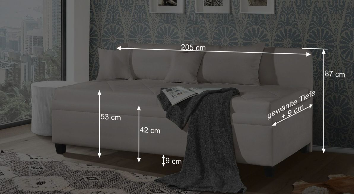 Bemaßungsgrafik zur Sofaliege Kamina Komfort