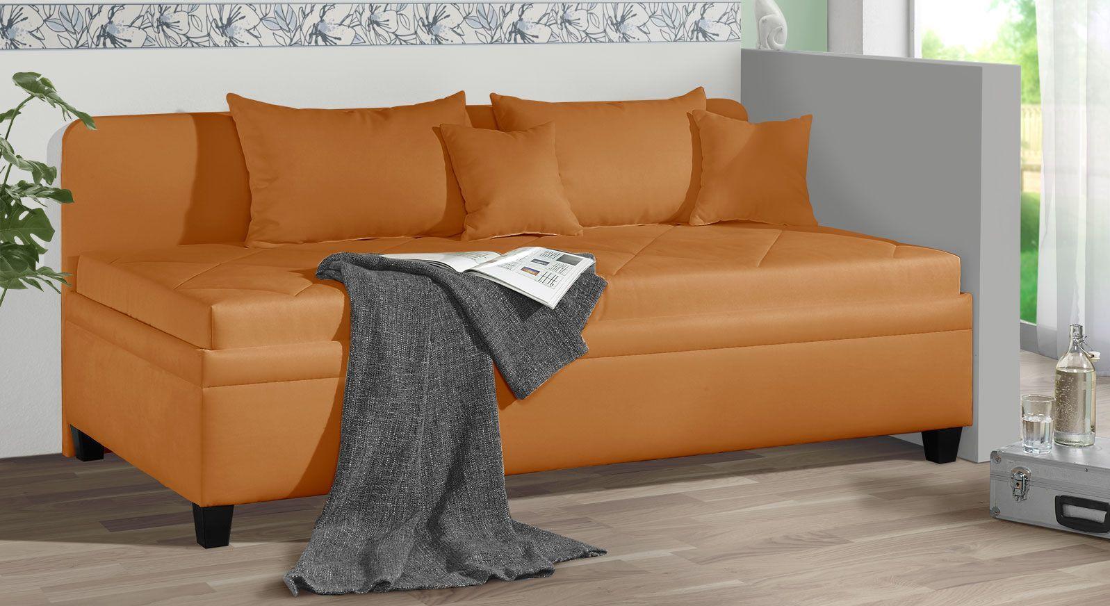 Sofaliege Kamina aus Microvelours in Orange