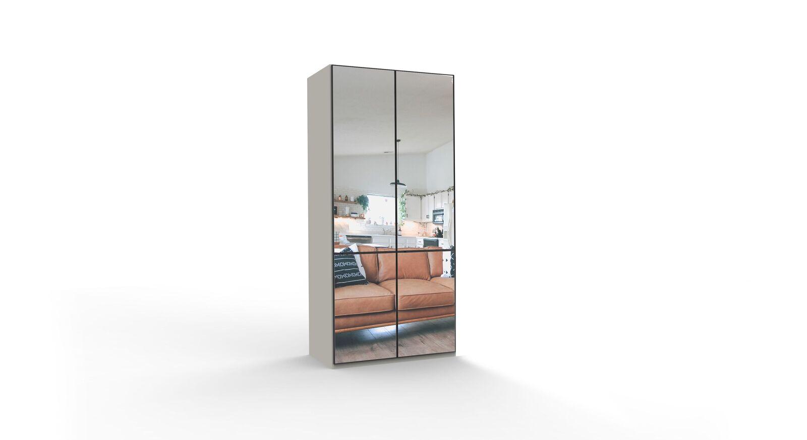 2-türiger Spiegel-Drehtüren-Kleiderschrank Loyd