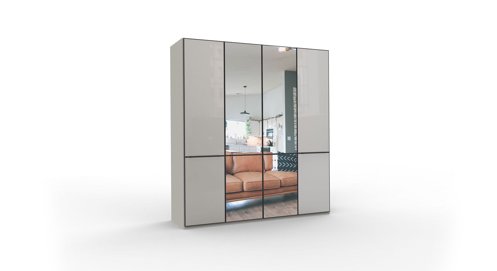 4-türiger Spiegel-Drehtüren-Kleiderschrank Loyd