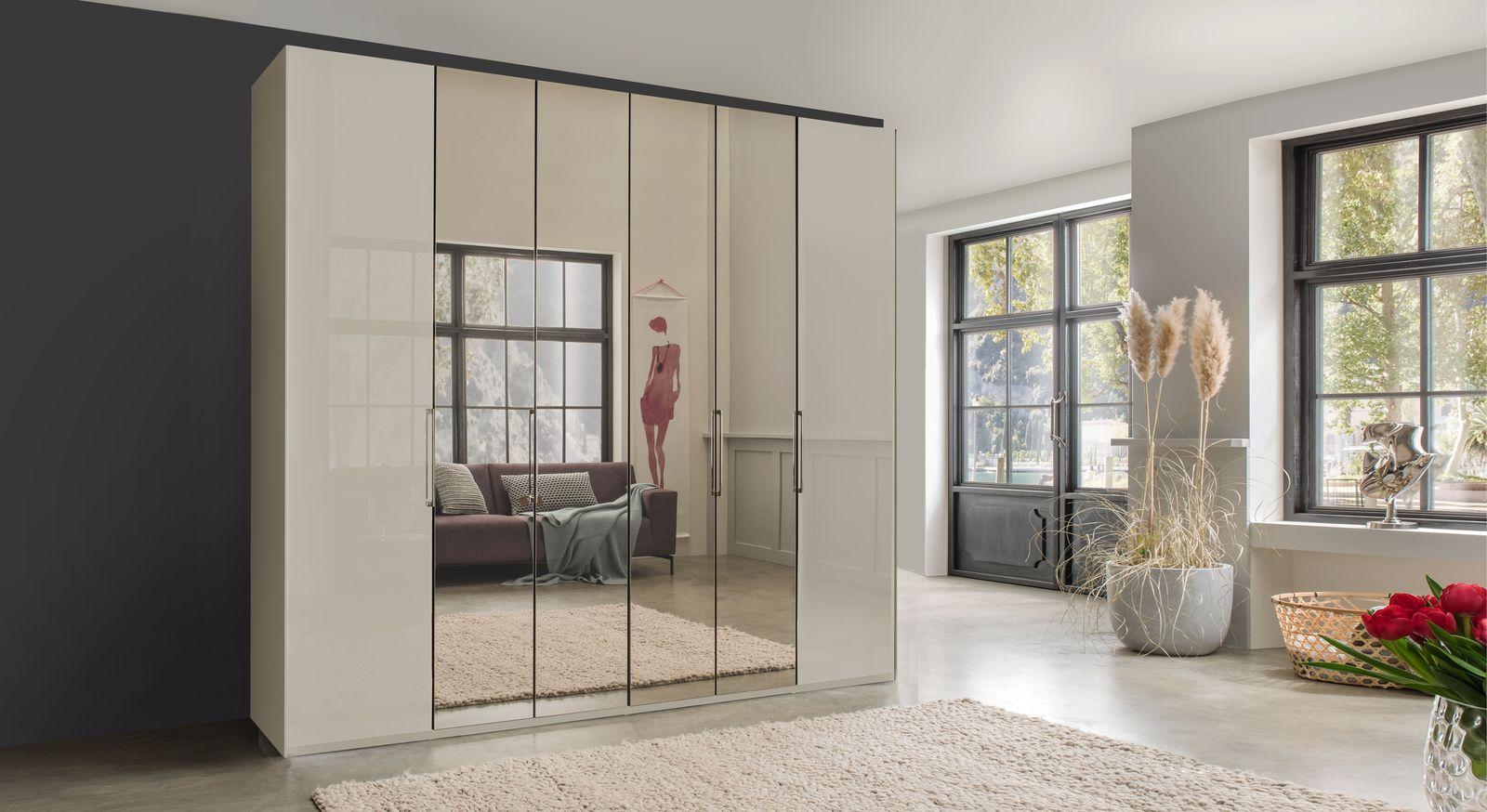 Spiegel-Falttüren-Kleiderschrank Northville mit pflegeleichter Glasfront