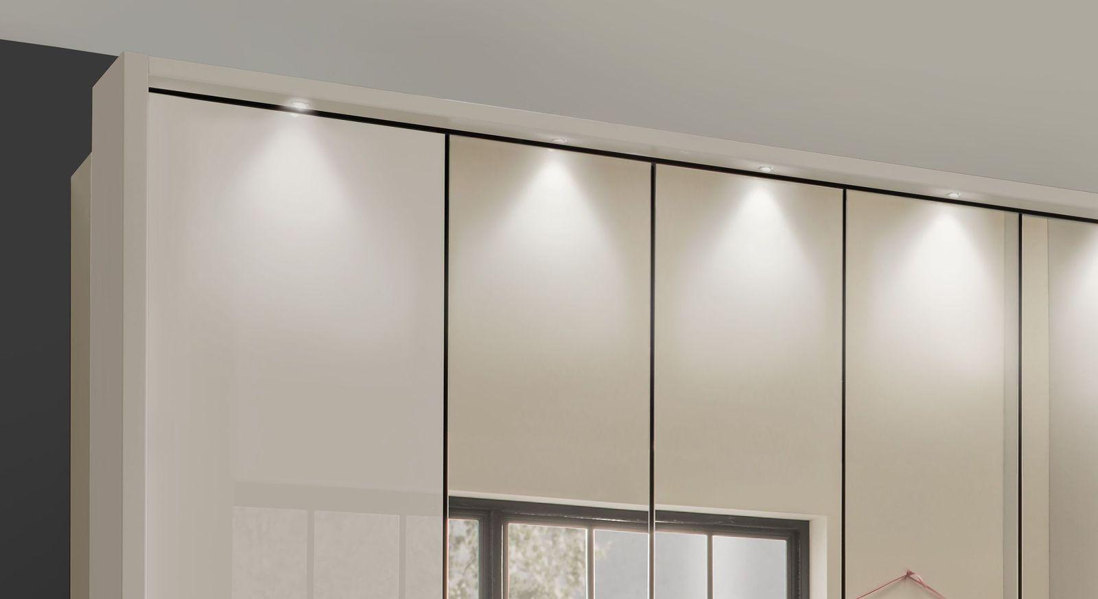 Spiegel-Falttüren-Kleiderschrank Northville optional mit Lampen