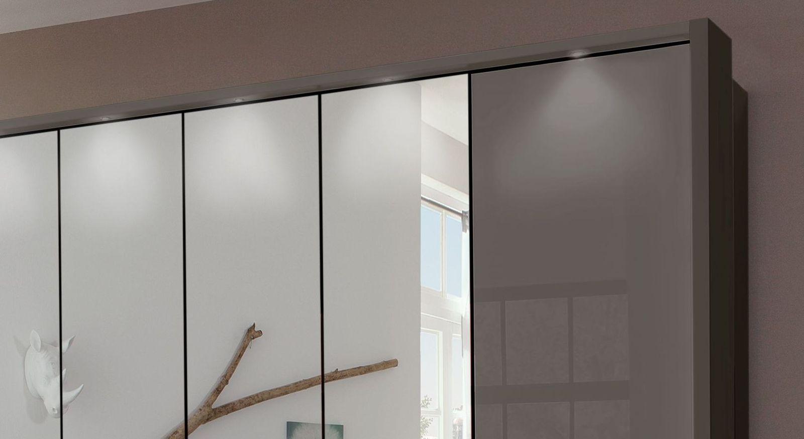 Spiegel-Falttüren Kleiderschrank Southville mit LED-Spot-Beleuchtung
