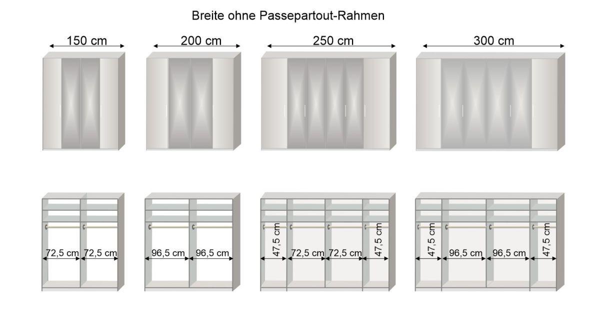 Grafik zur Inneneinteilung des 150-300 cm breiten Spiegel-Falttüren-Kleiderschranks Westville