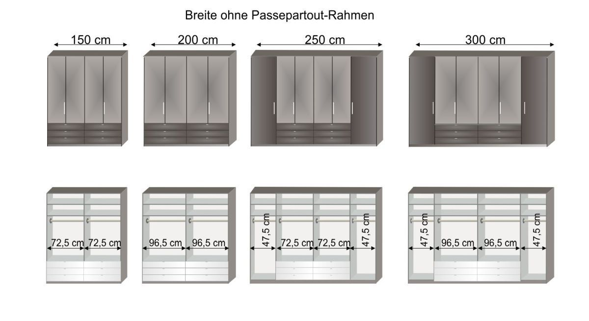 Grafik zur Inneneinteilung des Spiegel-Kleiderschranks Harrow in 150 cm bis 300 cm Breite