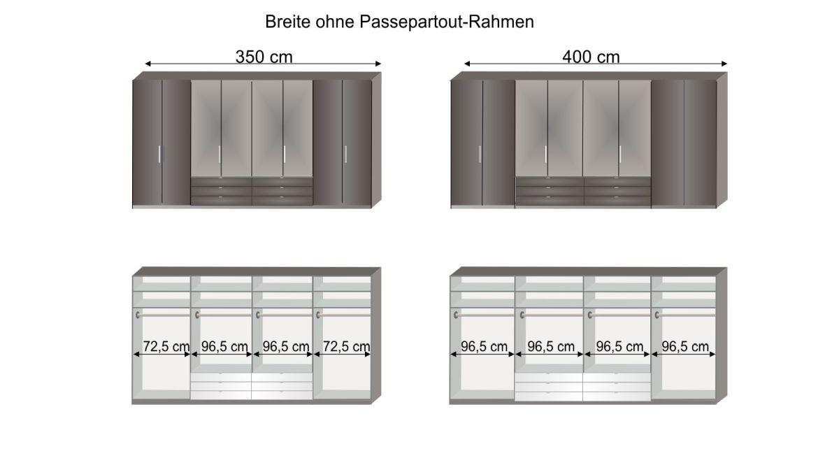 Grafik zur Inneneinteilung des Spiegel-Kleiderschranks Harro in 350 cm und 400 cm Breite