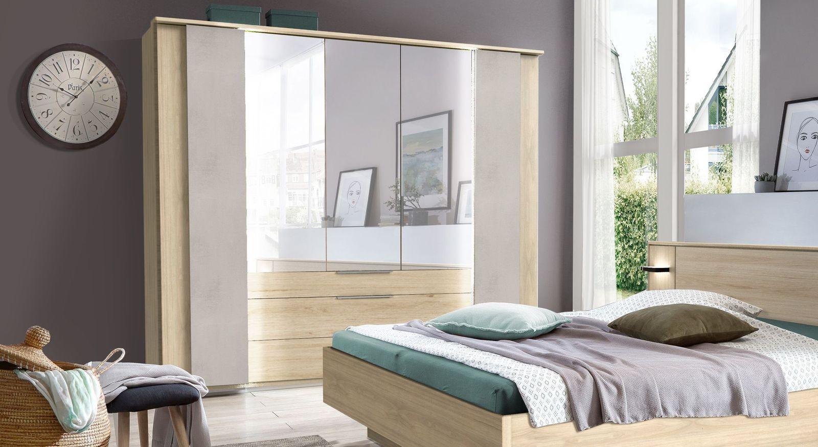Viel stauraum für ihre utensilien der spiegel kleiderschrank hayward hier 5 türig in hickory oak nachbildung und beton dekor