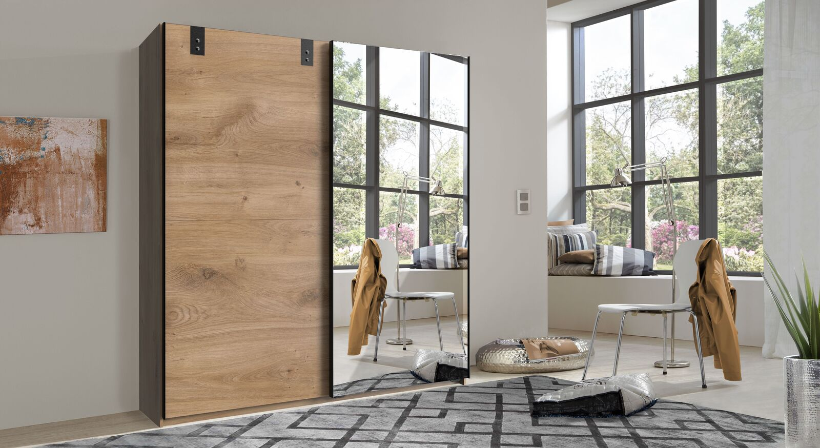 Spiegel-Schwebetüren-Kleiderschrank Nolan in Plankeneiche-Dekor