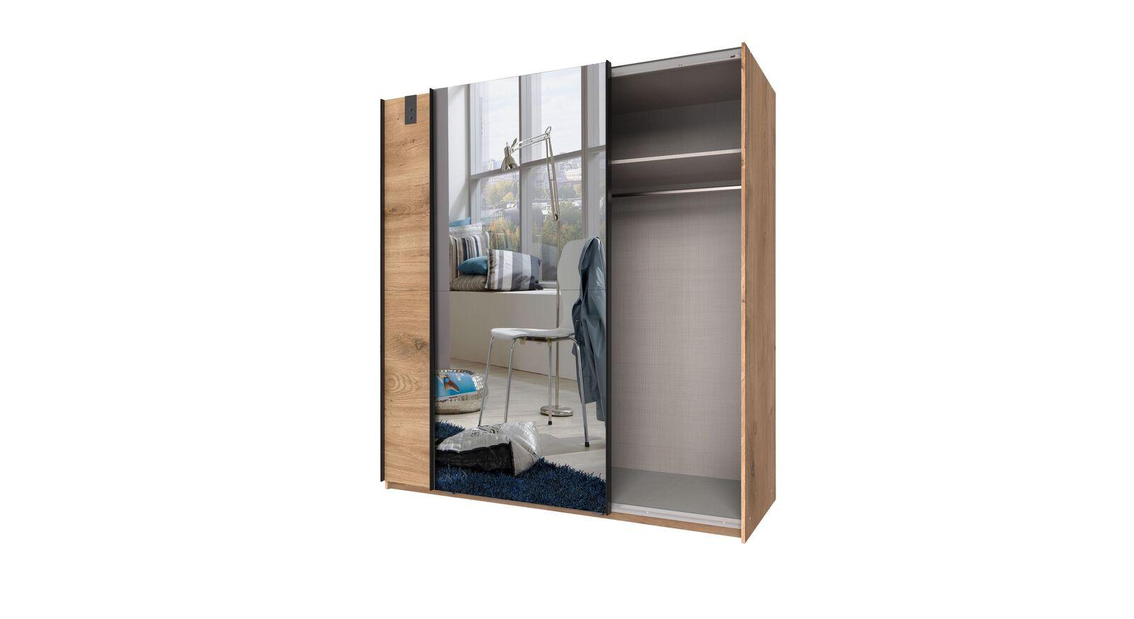 Spiegel-Schwebetüren-Kleiderschrank Nolan mit praktischer Inneneinteilung