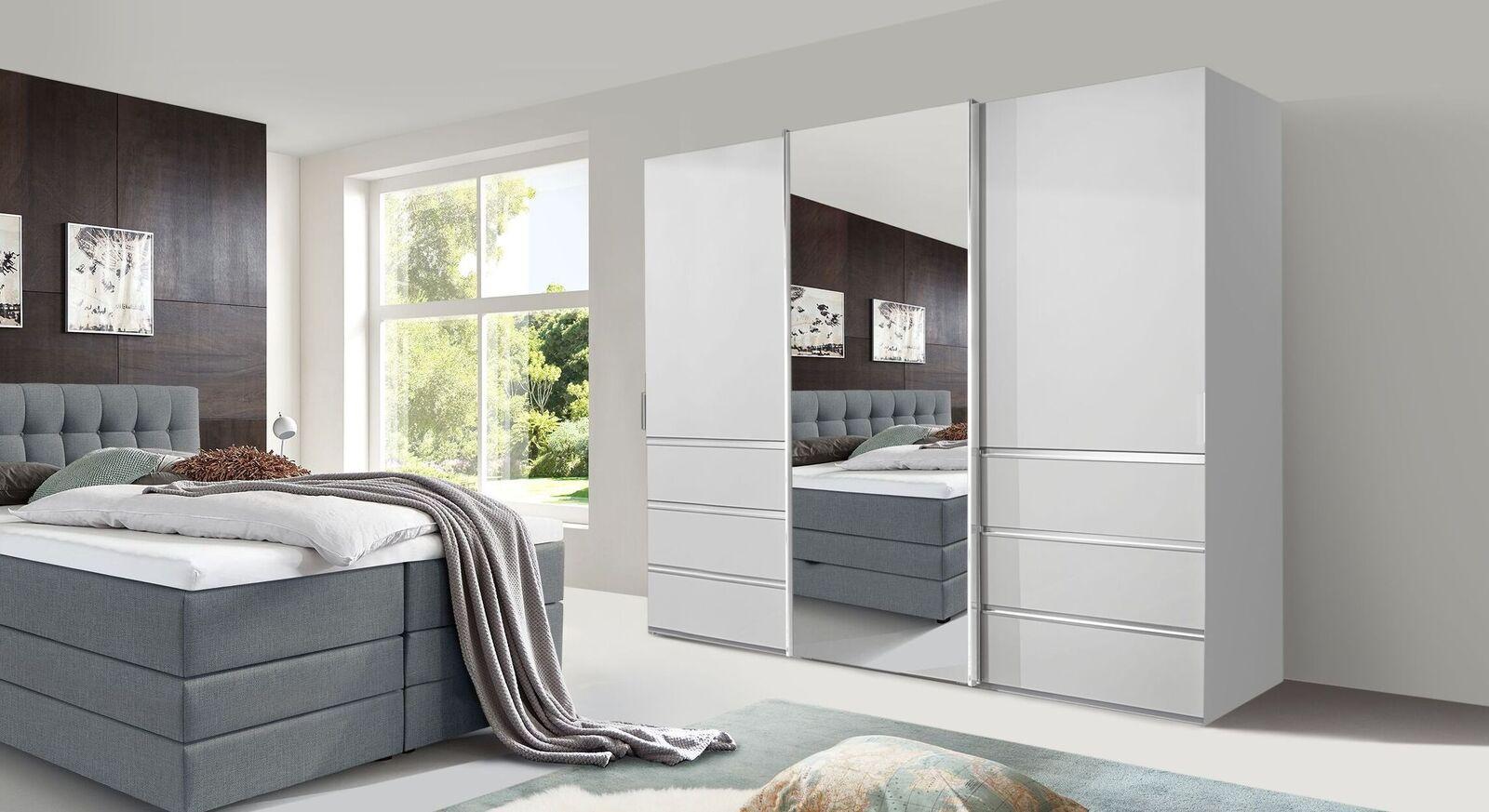 Spiegel-Schwebetüren-Kleiderschrank Tanaria aus weißem Dekor