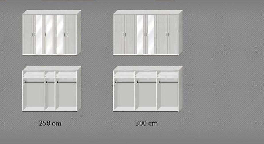 Spiegeltüren-Kleiderschrank Calimera inklusive Kleiderstange und Einlegeböden