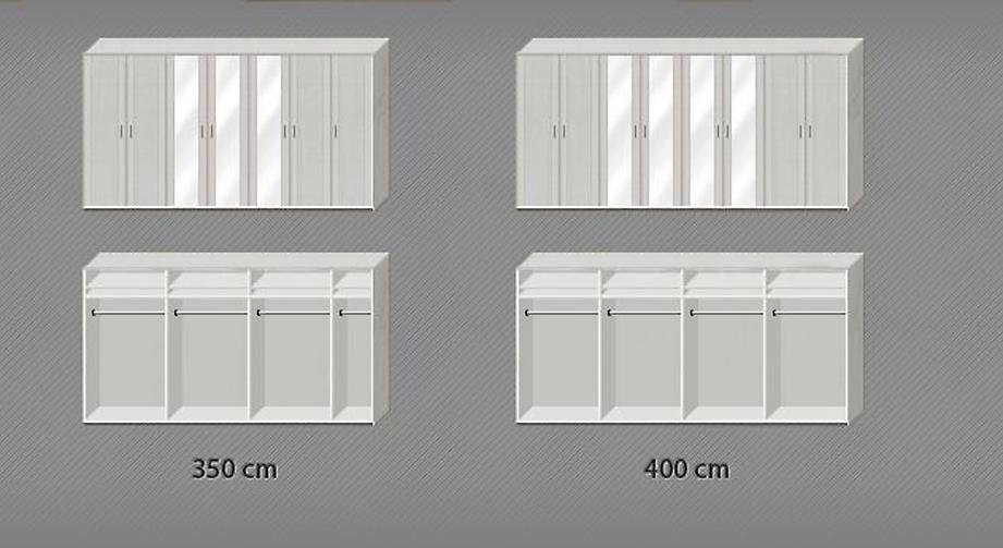 Inneneinteilung von den Spiegeltüren-Kleiderschränke Calimera in den breiten Ausführungen