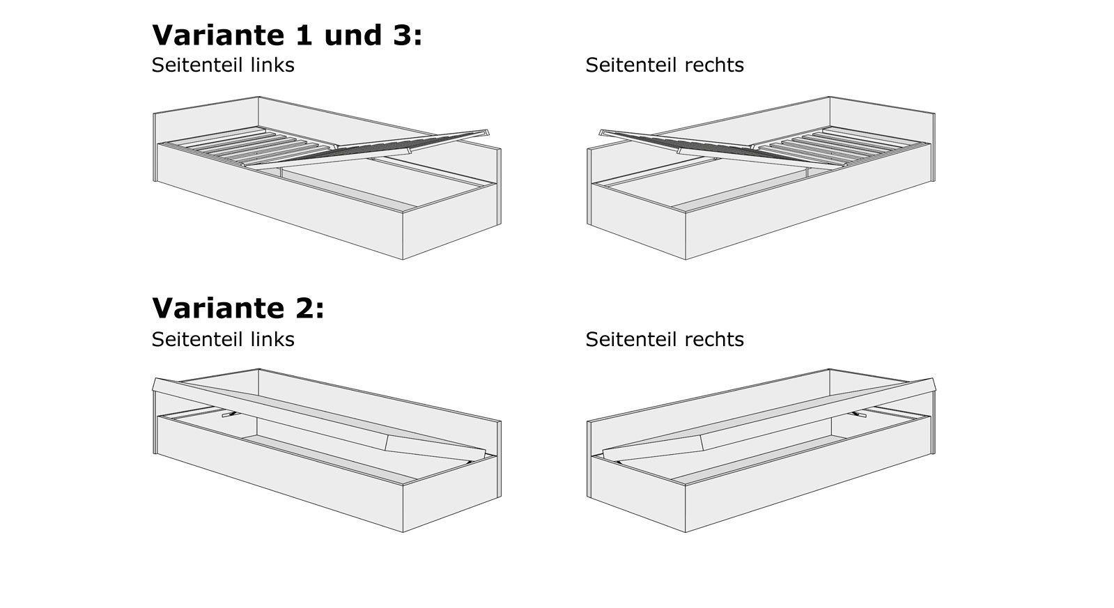 Grafik für das Bettkasten-System der Studioliege