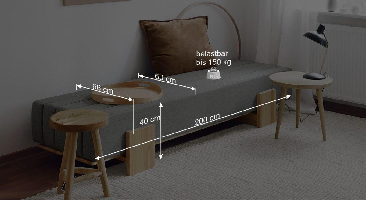 Bemaßungsgrafik zum Tagesbett Capena als Sofa