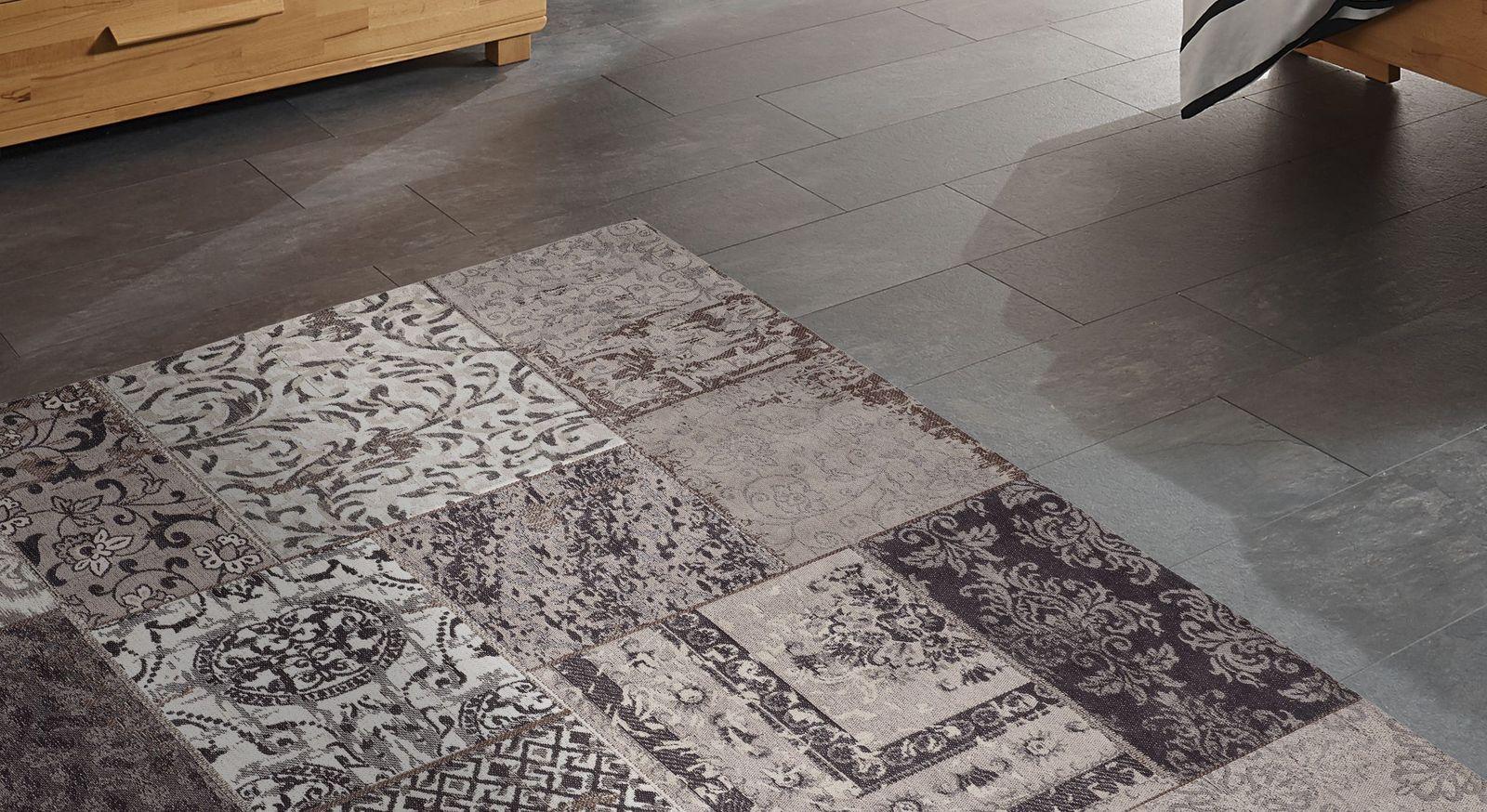 Teppich Patch grau in angesagtem Mustermix
