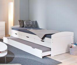 Weißes Ausziehbett Leon mit zwei Schlafplätzen