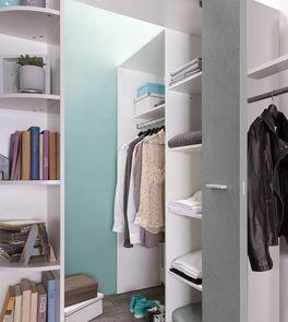 Begehbarer Eck-Kleiderschrank Porvenir mit aufklappbarer Türe