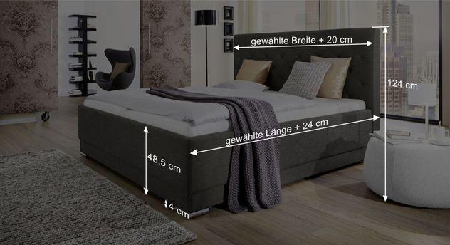 Bemaßungsgrafik zum Bett Atella